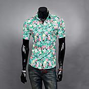 Aowofs Hombres Ocio vaina Camiseta de manga corta verde 8818