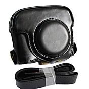 dengpin® cuero estuche protector desmontable de la cámara del bolso del estilo de carga con correa para el hombro para Canon PowerShot G16 tapa