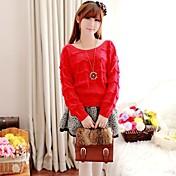 Mujer Regular Pullover Bonito,Un Color Rojo Morado Manga Larga Algodón Otoño Medio Microelástico