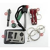 Kit de Supervivencia arrancador de fuego Compases silbido de la supervivencia Tarjeta de crédito herramienta de la supervivencia Saw