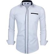 Masculino Camisa Casual Xadrez Manga Comprida Algodão / Poliéster Preto / Azul / Vermelho / Branco
