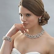 Mujer Juego de Joyas Pendientes colgantes Collar con perlas Perla Elegant Nupcial joyería de disfraz Perla Brillante Plateado Legierung