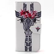 カードスロットと花パターンPUレザーフルボディケースと白い鹿の頭とiPhone 5cのためのスタンド