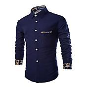 Hombre Vintage Simple Tejido Oriental Noche Casual/Diario Vacaciones Para Todas las Temporadas Primavera Camisa,Cuello Camisero Un Color