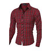 Camisa De los hombres A Rayas / A Cuadros / Un Color Casual / Trabajo / Formal / Deporte / Tallas Grandes-Mezcla de Algodón-Manga Larga-