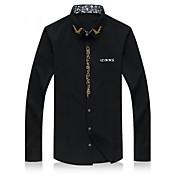 Camisa De los hombres Estampado Casual / Trabajo / Deporte / Tallas Grandes-Algodón-Manga Larga-Negro / Azul / Rojo / Blanco