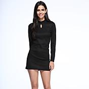 De las mujeres Línea A Vestido Casual Un Color Sobre la rodilla Escote Chino Algodón / Nailon