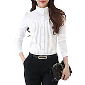 De las mujeres Tallas Grandes Casual/Diario Primavera Camisa,Escote Chino Un Color Manga Larga Poliéster Blanco Medio