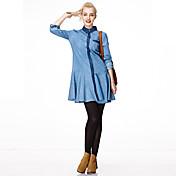 Mujer Chic de Calle Vacaciones Primavera / Otoño Camisa,Cuello Camisero Un Color Manga Larga Algodón Azul Fino