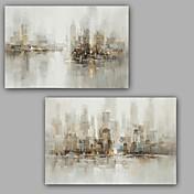 Pintada a mano Abstracto Pinturas de óleo,Modern / Clásico Dos Paneles Lienzos Pintura al óleo pintada a colgar For Decoración hogareña
