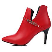 Mujer-Tacón Stiletto-Confort-Tacones-Exterior Vestido Informal-PU-Negro Rojo