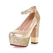 Mujer-Tacón Robusto Talón de bloque-Zapatos del club-Tacones-Boda Vestido Fiesta y Noche-PU-Dorado Plata