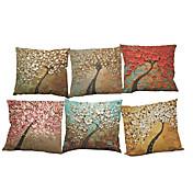 6 PC Lino Cobertor de Cojín Funda de almohada,Sólido Con Texturas Geométrica Tradicional/Clásico Reforzar Estilo playero