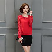 Signo 2017 primavera nuevo coreano mujeres cuello redondo camisa de manga larga de gasa delgada camisa pequeña salvaje