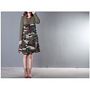 punto 2016 nueva ola de mujeres de gran tamaño&# 39; s coreano camuflaje costura de moda suelta de algodón vestido de otoño