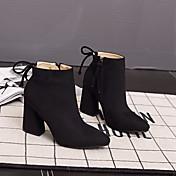 Mujer-Tacón Robusto-Confort-Botas-Informal-Ante-Negro Marrón