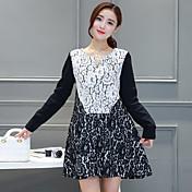 Otoño nuevo temperamento coreano era fino hueco encaje vestido de flor de gancho una palabra suelta costura mujeres de cobertura