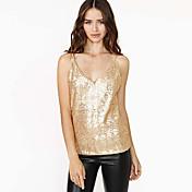 Baya aliexpress e caliente sexy oro cintas de lentejuelas pesado perlas adelgazan v-cuello chaleco delgado femenino