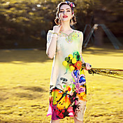 Mujer Corte Ancho Recto Vestido Casual/Diario Playa Noche Vintage Simple Sofisticado,Floral Asimétrico Hasta la Rodilla 1/2 Manga Seda
