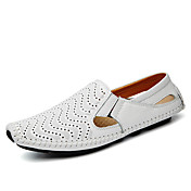 Hombre Zapatos Cuero de Napa Primavera Verano Otoño Confort Zapatos De Buceo Zapatos de taco bajo y Slip-On Paseo Combinación Para Casual