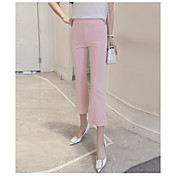 Mujer Adorable Sencillo Tiro Alto strenchy Chinos Pantalones,Ajustado a la Bota Un Color