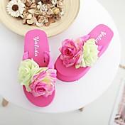 MujerSuelas con luz-Zapatos de taco bajo y Slip-Ons-Informal-PU-Blanco Fucsia Rosa