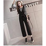 Mujer Sencillo Tiro Alto Inelástica Chinos Pantalones,Perneras anchas Un Color Color puro