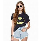 Mujer Simple Casual/Diario Primavera Camiseta,Escote Redondo Un Color Manga Corta Algodón Fino