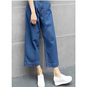 Mujer Sencillo Tiro Alto Microelástico Vaqueros Chinos Pantalones,Corte Ancho Perneras anchas Un Color Color puro