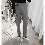 Mujer Chic de Calle Tiro Alto Chinos Pantalones,Corte Recto Un Color