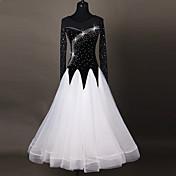 ボールルームダンス ワンピース 女性用 ダンスパフォーマンス ナイロン アップリケ スプライシング 1個 長袖 ハイウエスト ドレス