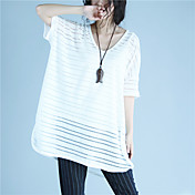Mujer Simple Casual/Diario Camiseta,Escote Redondo Un Color 1/2 Manga Poliéster