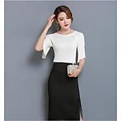 Mujer Bonito Casual/Diario Verano T-Shirt Falda Trajes,Escote Redondo Un Color Microelástico