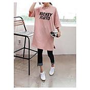 Mujer Simple Casual/Diario Camiseta,Escote Redondo Un Color 3/4 Manga Algodón