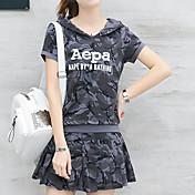 Mujer Verano T-Shirt Falda Trajes Manga Corta