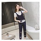 Mujer Verano Primavera T-Shirt Pantalón Trajes,Escote Redondo Manga Corta