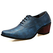 Hombre Zapatos PU Primavera Otoño Confort Oxfords Para Negro Plata Rojo Azul