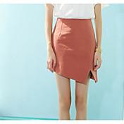 Mujer Vacaciones Asimétrico Faldas,Línea A Verano Un Color