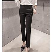 Mujer Sencillo Tiro Medio Microelástico Chinos Pantalones,Delgado Un Color