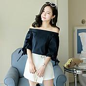 Mujer Chic de Calle Noche Verano T-Shirt Falda Trajes,Escote Redondo Un Color Media Manga Espalda al Aire Inelástica