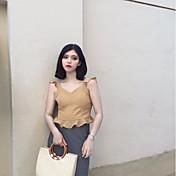 Mujer Sexy Simple Bonito Casual/Diario Tank Tops,Escote en Pico Un Color Sin Mangas Algodón