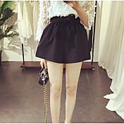Mujer Adorable Tiro Alto Microelástico Shorts Pantalones,Corte Ancho Un Color