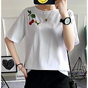 Mujer Simple Noche Casual/Diario Verano Camiseta,Escote Redondo Estampado Manga Corta Algodón Medio