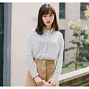 Mujer Simple Noche Camisa,Escote Redondo Un Color A Rayas Manga Larga Algodón