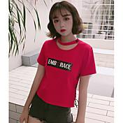 Mujer Bonito Casual/Diario Camiseta,Escote Redondo Un Color Letra Manga Corta Algodón