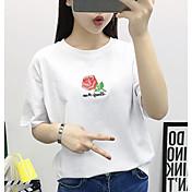 Mujer Simple Casual/Diario Verano Camiseta,Escote Redondo Bordado Manga Corta Algodón Medio