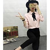 Mujer Simple Casual/Diario Otoño Blusa,Escote Redondo Un Color Manga Larga Algodón Medio