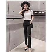 Mujer Sencillo Tiro Alto Microelástico Chinos Empresa Pantalones,Corte Recto Un Color