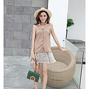 Mujer Simple Casual/Diario Verano T-Shirt Falda Trajes,Escote en Pico Estampado Sin Mangas