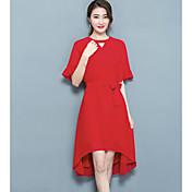 Mujer Corte Swing Vestido Noche Un Color Escote Redondo Sobre la rodilla Manga Corta Algodón Verano Tiro Medio Microelástico Fino